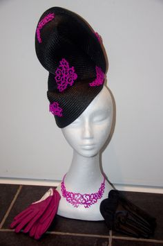 Designer fascinator one of a kind. Black buntal twist with hand sewn pink metal highlights, matching necklace and pair of gloves, races by DesignerFascinators on Etsy Fascinator, Headpiece, Matching Necklaces, Hand Sewn, One Size Fits All, Large Black, Highlights, That Look, Gloves
