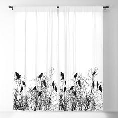 Twelve birds Blackout Curtain by coenna Blackout Windows, Blackout Curtains, Window Curtains, White Branches, Nature Decor, Bird Design, Curtain Rods, The Neighbourhood, Relax