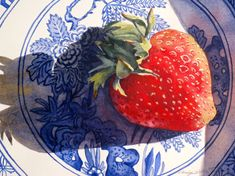 Original Watercolor Painting Still Life for Kitchen Blue and White China Red Strawberry