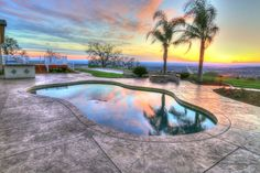 Backyard pool, sunset, El Dorado Hills, CA Backyard Water Feature, Water Features, Sunset, Outdoor Decor, Home Decor, Water Sources, Decoration Home, Room Decor, Sunsets