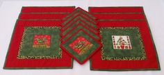 Quilted Patchwork Christmas Place mat set by carenscanvasandcraft