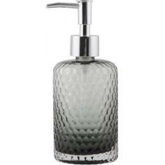 Seifenspender, graues Glas Console, Pots, Container Design, Bathroom Inspiration, Soap Dispenser, Bottle, Sweet, Tableware, Drinkware