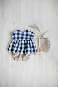 Blue Gingham Blouse with Linen Bloomers