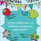 This fun classroom or hallway hunt features 12 colorful cards, each with two pictures... when students combine the words the two pictures represent...