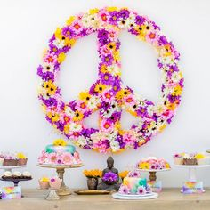 Peace-inspired dessert table from a Rainbowpalooza Tie Dye 1970's Inspired Birthday Party via Kara's Party Ideas KarasPartyIdeas.com (22)