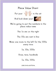 place value song with a printable