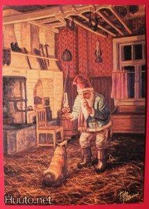 Terho Peltoniemi Old Cards, Old Postcards, Yule, Gnomes, Elves, Fantasy Art, Fairy Tales, Illustration Art, Old Things