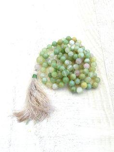 Springtime Mala Necklace, 108 Bead Agate Mala, Silk Tassel Knotted Mala Beads, Yoga Meditation Beads, Long Beaded Mala Necklace