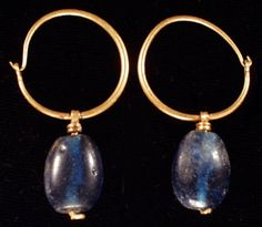 Byzantine gold earrings, 7th-8th century/love the simplicity of design, cabachon bead, good to make lots of