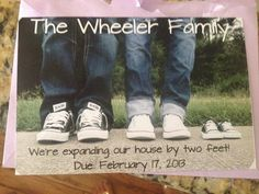 Expanding the family by two feet...pregnancy announcement. Cute