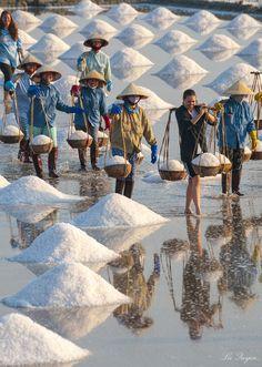 Hon Khoi salt workers . Vietnam