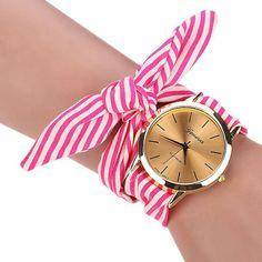 New Arrive Girls Ladies Women's Watches Fashion Casual Stripe Fabric Bracelet Watch 3 Colors Sweet Women Dress Wristwatch
