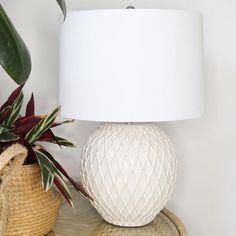Diamond Thatch Cream Ceramic Table Lamp | Black Mango