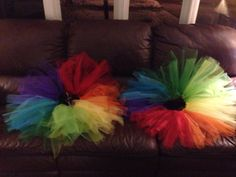 No sew rainbow tutus for the rainbow birthday girl.