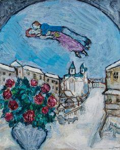 Amoureux dans le ciel ou Village enneigé (Vitebsk) - Marc Chagall - The Athenaeum Marc Chagall, Artist Chagall, Klimt, Chagall Paintings, Jewish Art, Pablo Picasso, Picasso Art, Painting For Kids, Painting Lessons