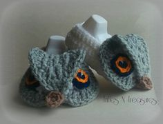 Majestic Owl Booties - $5.00 by Tera Kulling of Trifles N Treasures  Owls Part 2 - Animal Crochet Pattern Round Up - Rebeckah's Treasures