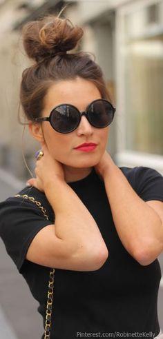 Street Style: black on black, high messy bun & round shades. Pretty rad & effortlessly cool