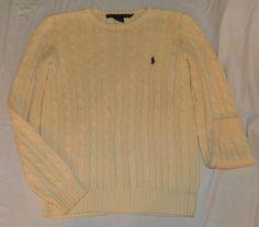 Ralph Lauren Sport Cream Cable Knit Sweater boat beach ivory L #RalphLauren #Crewneck