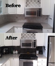 Quick kitchen backsplash revamp using peel and stick vinyl tiles.  DIY: Vinyl Tiled Backsplash | Rhody Life