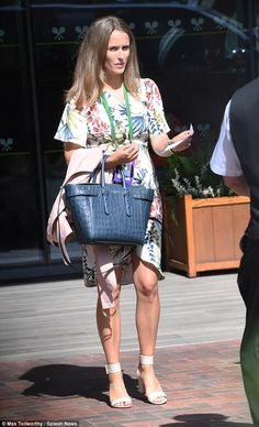 Kim, who is pregnant with her second child, showcased her slim legs in a flirty floral dress, teams with cream ankle strap sandals Kim Sears Pregnant, Kim Murray, Eva Longoria Style, Nicky Hilton, Wimbledon, Slim Legs, Ankle Strap Sandals, Zara, Style Inspiration