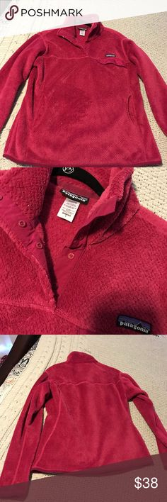 Patagonia Women's Re-Tool Snap T Pullover Dark pink pullover. Deep pile 100% polyester fleece has extra long fibers to retain warmth. Kangaroo style handwarmer pocket. Hits at the hip. Like new condition.   All of my items come from a smoke and pet free home. Patagonia Sweaters