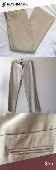 💕💎Cute EXPRESS Editor boot cut pants. Sz 8💎💕 Tan / Cream with light white stripes,In excellent condition. Express Pants Boot Cut & Flare