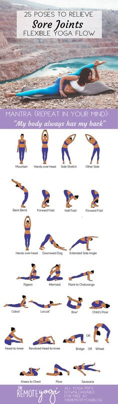 """Decrease Joint Pain, Increase Confidence: Flexibility Yoga Flow """"My body always has my back"""" repeat this mantra as you flow through these 25 poses to lubricate your joints and reduce pain and inflammation. Yoga Fitness, Fitness Workouts, Yoga Workouts, Yoga Bewegungen, Yoga Moves, Yin Yoga, Yoga Flow Sequence, Yoga Sequences, Yoga Routine"""