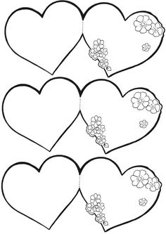 Diy And Crafts, Crafts For Kids, Arts And Crafts, Paper Crafts, Colouring Pages, Coloring Books, Valentines Day Coloring, Heart Template, Parchment Craft