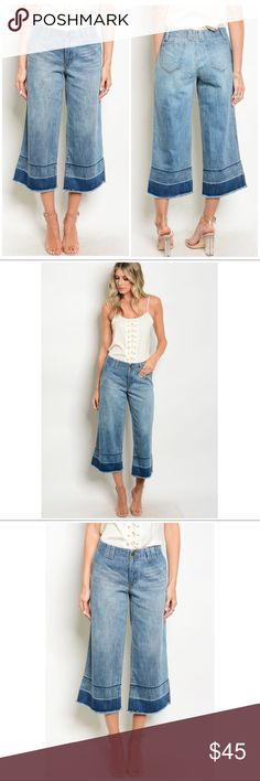 """BLUE DENIM DISTRESSED WIDE LEG JEAN CAPRIS Blue denim wide leg distressed jean capris are a hip addition to your wardrobe! *Length approx. 32"""" from waist, Inseam 22-23"""" *Waist (S 28""""), (M 30""""), (L 32"""") *100% cotton  CLOSET RULES: Bundle Discounts * No Trades * Smoke free Laura's Boutique Jeans Flare & Wide Leg"""