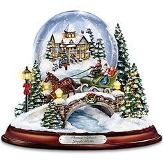 Thomas Kinkade Jingle Bells Illuminated Musical Christmas Snowglobe Musical Christmas Snow Globes, Thomas Kinkade Christmas, Christmas Artwork, Christmas Deer, Christmas Gifts, Old Fashioned Christmas, Jingle All The Way, Cross Paintings, Victorian Christmas