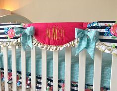 Crib Rail Cover - Gold Dot, Aqua, Hot Pink, and Watercolor Floral Stripe Gold Bedding Sets, Pink Crib Bedding, Nursery Bedding Sets Girl, Cheap Bedding Sets, Queen Bedding Sets, Comforter, Girl Nursery, Crib Rail Cover