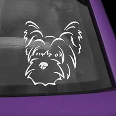 Vinyl decal measures approximately 5.4 x 6. A cute Yorkshire Terrier head for your vehicle. These decals are permanent and difficult to