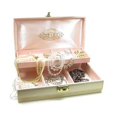 Pink Jewelry Box Vintage Leatherette White Gold Flowers  (Have this, it was my Mom's)