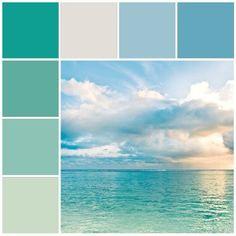 Aqua Blue Coastal Color Scheme / Beach Color Palette / Ocean Decorating Tips & Ideas by ebony Ocean Colors, Coastal Colors, Coastal Style, Coastal Living, Water Colors, Coastal Decor, Beach Color, Blue Beach, Blue Sunset