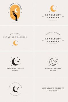 24 beautiful moon and stars themed logo designs in both AI + PSD formats! These designs will give a professional, high-end style to any business.