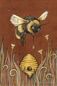 Vintage Bee & Beehives - Bee Decor — The Beehive Shoppe Buzzy Bee, I Love Bees, Vintage Bee, Bee Art, Bee Happy, Bees Knees, Queen Bees, Bee Keeping, Illustrations