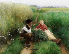 'Two peasant people in love', 1900 - by  Evariste Carpentier (1845-1922) Belgian artist | Realism