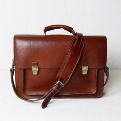 Men's Handmade Vegetable Tanned Leather Briefcase / Messenger Bag