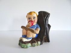 Boy Figurine Book Apple Tree Vintage Chalkware by LilBatsInTheAttic on Etsy