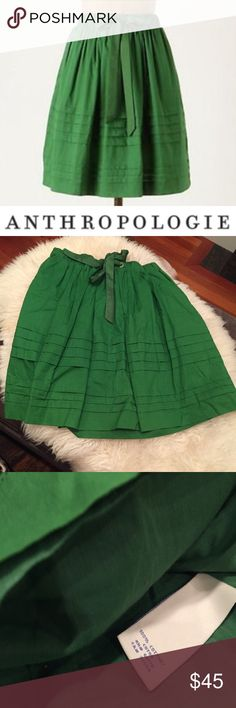 Anthropologie Odille Green Ribbon Tie Skirt Anthropologie Odille Green Ribbon Tie Skirt. Lined. Elastic waist, with a ribbon tie to tighten when needed. Bought for an event and never wore. Like new condition. Feel free to make an offer. Anthropologie Skirts