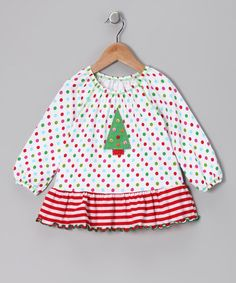 Take a look at this White Christmas Tree Peasant Swing Top - Toddler & Girls by Happy Holidays: Girls' Apparel on #zulily today!