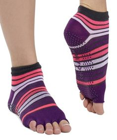 Loving this Pink & Purple Toeless Gripper Socks on Yoga Routine, Get In Shape, Leg Warmers, Pink Purple, Polyester Spandex, Socks, Stability, Relax, Amp
