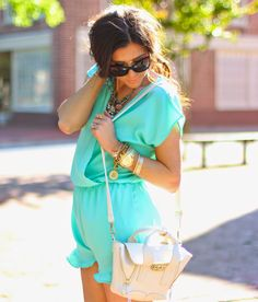 www.theSweetestthingblog.com, Emily Gemma, Blue Ruffle Romper, Romper with Ruffles, Baby Blue Romper, Shop Sosie Romper, Necessary Clothing Romper, White phillip lim bag, prima donna bags, Chanel cat eye sunglasses, pinterest summer and spring fashion 2014, pinterest summer outfits, zara nude sandals, nude strappy sandals, michele watch
