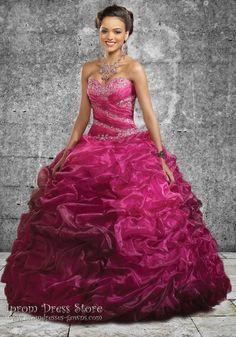 Ball Gown Strapless Neckline Floor length Sleeveless Organza Quinceanera Dress with Beading (SAS477)