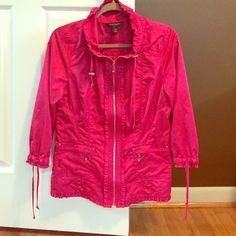 WHBM jacket Shimmery Pink WHBM spring jacket. Ruffle detail at cuffs, bottom, neck. Silver hardware. Ties at neck and cuff/fitted at the waist. States size 14, fits like 10-12. Length 26 inches. White House Black Market Jackets & Coats