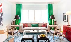Emerald drapes/Red console/Pattern mix