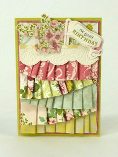 cardmaking Anna Griffin - beautiful floral card with ribbon paper pleating. Floral