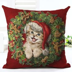 Kitten Christmas Wreath Cushion Cover. 30% proceeds from every purchase goes to animal charities.