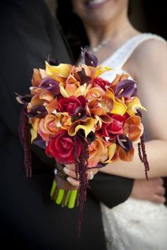 Beautiful wedding bouquet with callas