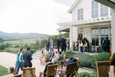 The guests mingle into the courtyard during cocktail hour at Pippin Hill Farm & Vineyards in Charlottesville, Va Virginia Wineries, Charlottesville Va, Blue Ridge Mountains, Summer Weddings, Wine Country, Florals, Vineyard, Cocktails, Events